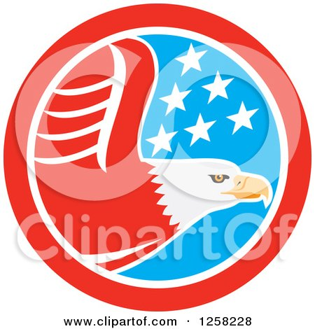 Clipart of a Flying Bald Eagle in an American Flag Circle - Royalty Free Vector Illustration by patrimonio