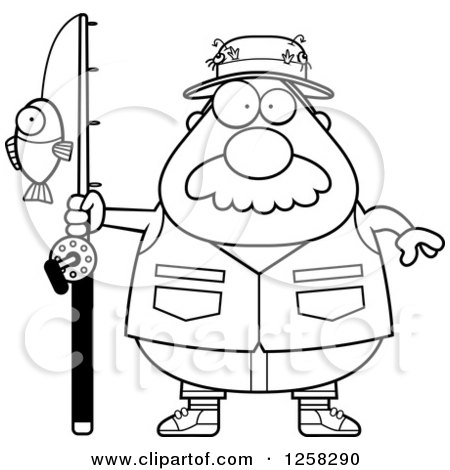 Clipart of a Black and White Chubby Fisherman - Royalty Free Vector Illustration by Cory Thoman