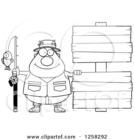 Clipart of a Black and White Happy Chubby Fisherman with Wooden Signs - Royalty Free Vector Illustration by Cory Thoman