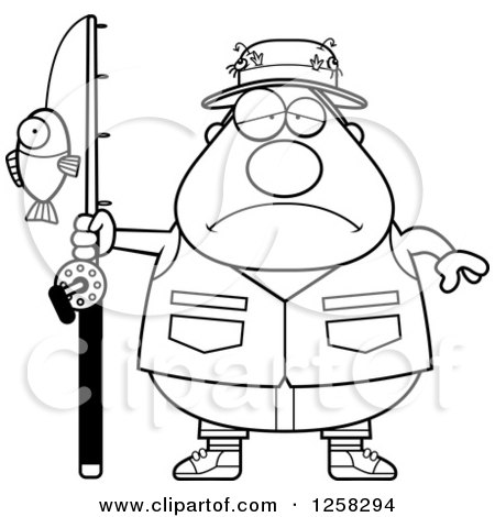 Clipart of a Black and White Sad Depressed Chubby Fisherman - Royalty Free Vector Illustration by Cory Thoman
