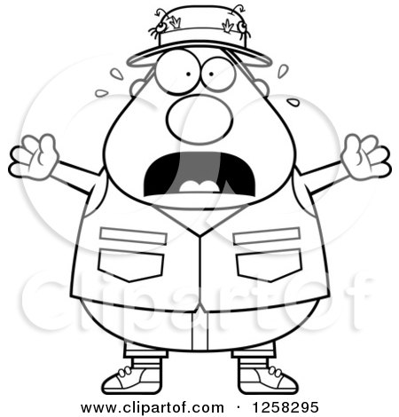 Clipart of a Black and White Scared Screaming Chubby Fisherman - Royalty Free Vector Illustration by Cory Thoman