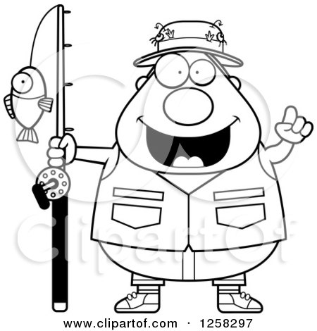 Clipart of a Black and White Happy Chubby Fisherman with an Idea - Royalty Free Vector Illustration by Cory Thoman
