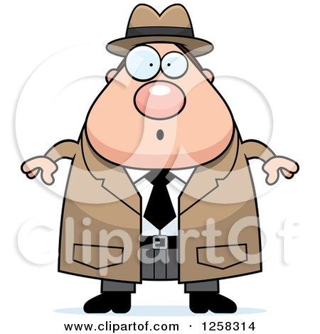 Clipart of a White Surprised Gasping Chubby Male Detective - Royalty Free Vector Illustration by Cory Thoman