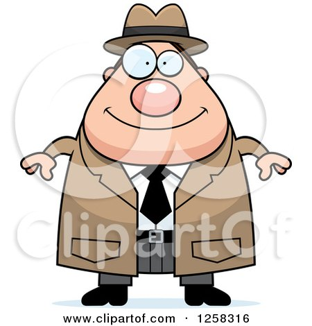 Clipart of a White Happy Chubby Male Detective - Royalty Free Vector Illustration by Cory Thoman