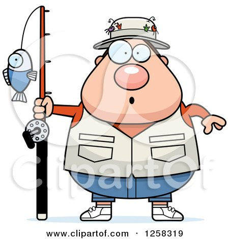 Clipart of a White Surprised Gasping Chubby Fisherman - Royalty Free Vector Illustration by Cory Thoman