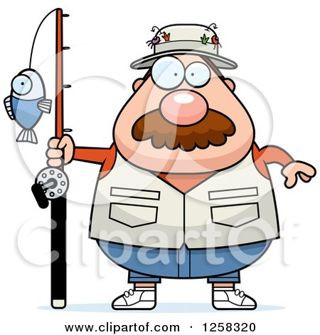 Clipart of a White Chubby Fisherman - Royalty Free Vector Illustration by Cory Thoman