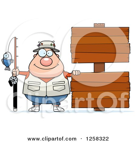 Clipart of a Caucasian Happy Chubby Fisherman with Wooden Signs - Royalty Free Vector Illustration by Cory Thoman