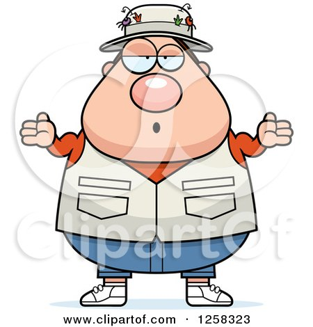 Clipart of a White Careless Shrugging Chubby Fisherman - Royalty Free Vector Illustration by Cory Thoman