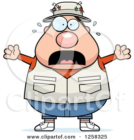Clipart of a White Scared Screaming Chubby Fisherman - Royalty Free Vector Illustration by Cory Thoman
