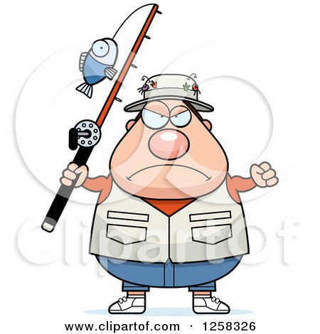 Clipart of a White Mad Chubby Fisherman Holding up a Fist - Royalty Free Vector Illustration by Cory Thoman