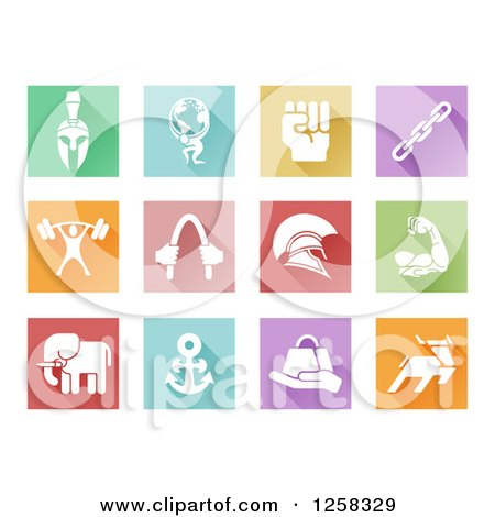 Clipart of Colorful Square Tiles with White Sports and Strength Icons - Royalty Free Vector Illustration by AtStockIllustration