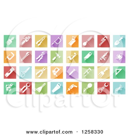 Clipart of Colorful Square Tiles with White Tool Icons - Royalty Free Vector Illustration by AtStockIllustration