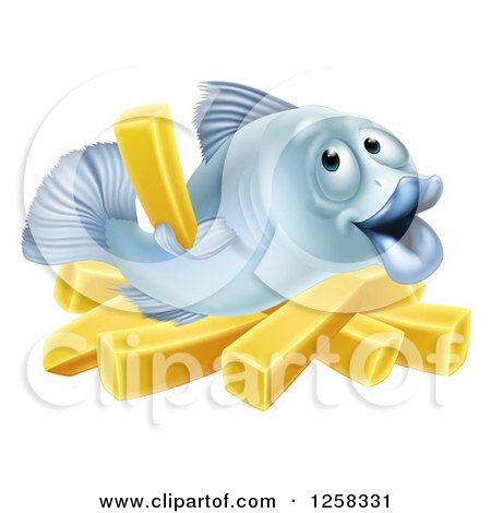 Clipart of a Happy Blue Cod Fish Holding up a French Fry over Chips - Royalty Free Vector Illustration by AtStockIllustration