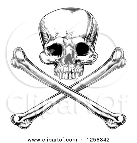 Black and White Engraved Jolly Roger Skull and Crossbones Posters, Art Prints