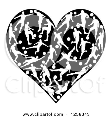 Clipart of a Black Heart with White Silhouetted Soccer Players in Action - Royalty Free Vector Illustration by AtStockIllustration