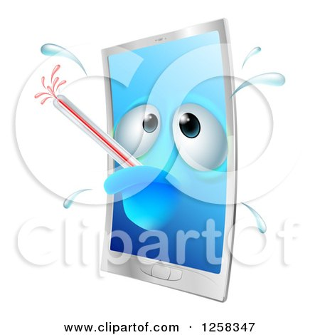 Clipart of a Sick Smartphone with a Fever and Bursting Thermometer - Royalty Free Vector Illustration by AtStockIllustration