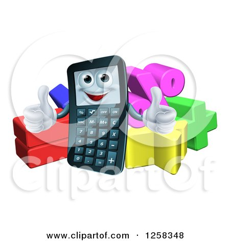 Clipart of a Happy Calculator Character Holding Thumbs up over Math Symbols - Royalty Free Vector Illustration by AtStockIllustration