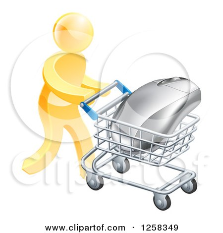 Clipart of a 3d Gold Man Pushing a Giant Computer Mouse in a Shopping Cart - Royalty Free Vector Illustration by AtStockIllustration