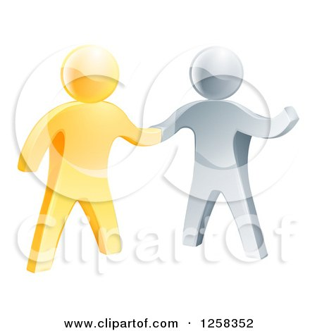 Handshake Between 3d Gold and Silver Men, with One Guy Gesturing Posters, Art Prints