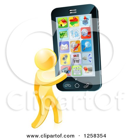 Clipart of a 3d Gold Man Carrying a Giant Cell Phone with Apps - Royalty Free Vector Illustration by AtStockIllustration