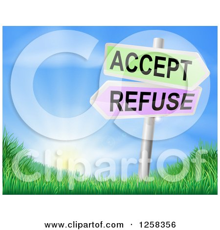 Clipart of 3d Accept or Refuse Arrow Signs over Grassy Hills and a Sunrise - Royalty Free Vector Illustration by AtStockIllustration