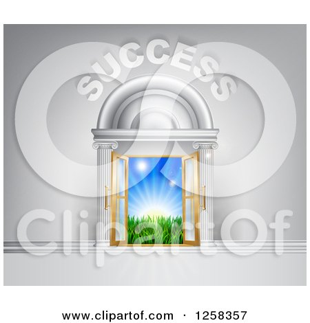 Clipart of a 3d SUCCESS over Open Doors with Light and a Field - Royalty Free Vector Illustration by AtStockIllustration