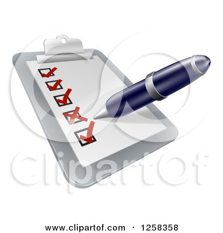 Clipart of a Pen Checking on Items on a Clipboard - Royalty Free Vector Illustration by AtStockIllustration