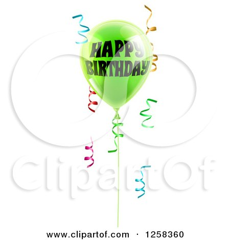 Clipart of a 3d Lime Green Party Balloon and Confetti Ribbons with Happy Birthday Text - Royalty Free Vector Illustration by AtStockIllustration