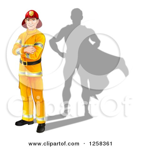 Clipart of a Caucasian Male Fireman with Folded Arms and a Super Hero Shadow - Royalty Free Vector Illustration by AtStockIllustration