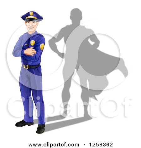 Clipart of a Caucasian Male Police Officer with Folded Arms and a Super Hero Shadow - Royalty Free Vector Illustration by AtStockIllustration