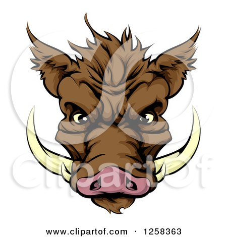 Clipart Of A Brown Aggressive Boar Mascot Face Royalty Free Vector Illustration