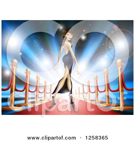 Clipart Of A Brunette Latina Female Celebrity Posing On A Red Carpet Royalty Free Vector Illustration