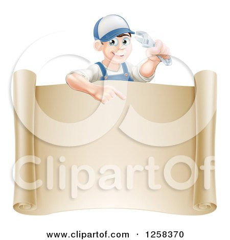 Clipart of a Happy White Brunette Mechanic Man Holding a Wrench over a Scroll Sign - Royalty Free Vector Illustration by AtStockIllustration