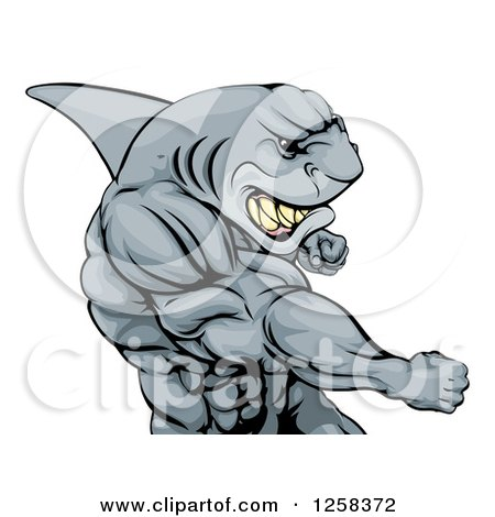 Clipart of a Mad Muscular Shark Man Mascot Punching - Royalty Free Vector Illustration by AtStockIllustration