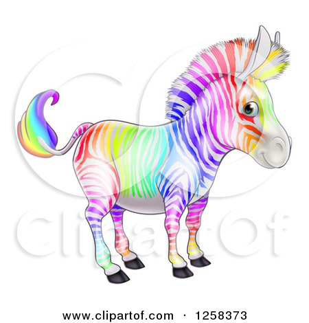 Clipart of a Cute Rainbow Striped Zebra - Royalty Free Vector Illustration by AtStockIllustration