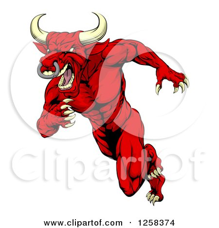 Clipart of an Aggressive Angry Red Bull Man Mascot Running Upright - Royalty Free Vector Illustration by AtStockIllustration