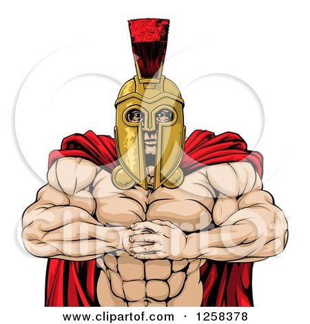 Clipart of a Tough Muscular Spartan Warrior Man Gesturing Bring It with His Fists - Royalty Free Vector Illustration by AtStockIllustration