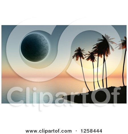 Clipart of a Silhouetted Tropical Island and Moon at Sunset - Royalty Free Illustration by KJ Pargeter