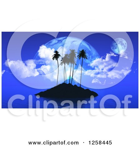 Clipart of a Silhouetted Tropical Island and Fictional Planets at Dusk - Royalty Free Illustration by KJ Pargeter