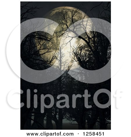 Clipart of a 3d Full Moon Through Bare Trees - Royalty Free Illustration by KJ Pargeter