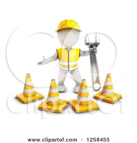Clipart of a 3d White Man Construction Worker Standing Behind Cones with a Wrench - Royalty Free Illustration by KJ Pargeter