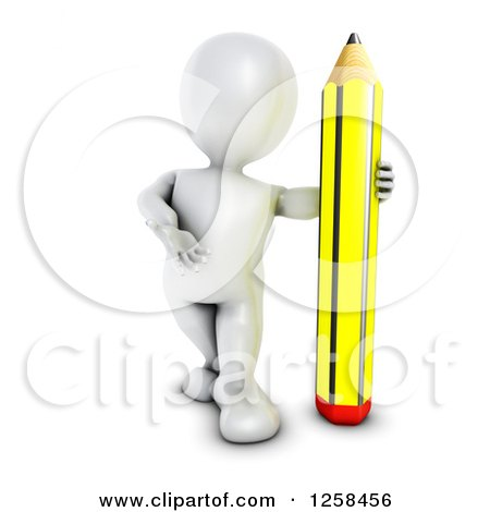 Clipart of a 3d White Man with a Giant Pencil - Royalty Free Illustration by KJ Pargeter