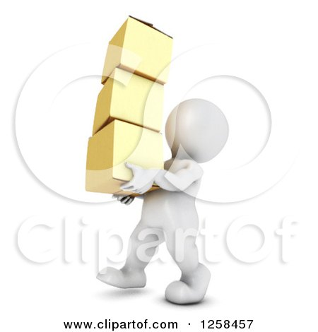 Clipart of a 3d White Man Carrying Boxes - Royalty Free Illustration by KJ Pargeter