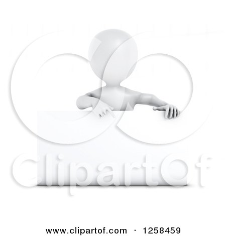 Clipart of a 3d White Man Pointing down at a Sign - Royalty Free Illustration by KJ Pargeter
