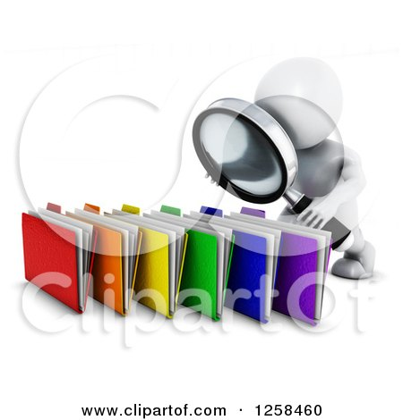 Clipart of a 3d White Man Searching Files with a Magnifying Glass - Royalty Free Illustration by KJ Pargeter