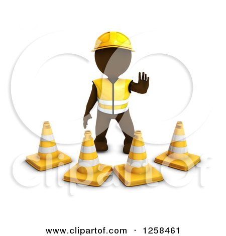 Clipart of a 3d Brown Man Construction Worker Standing Behind Cones - Royalty Free Illustration by KJ Pargeter