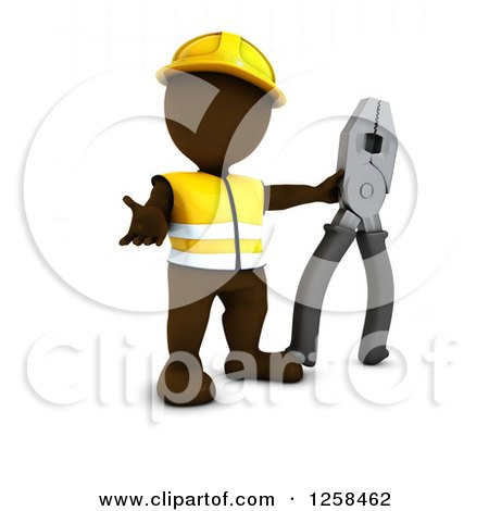 Clipart of a 3d Brown Man Construction Worker with Giant Pliers - Royalty Free Illustration by KJ Pargeter