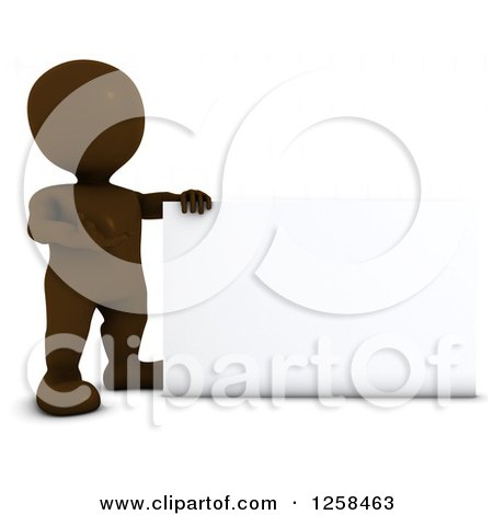 Clipart of a 3d Brown Man Presenting a Blank Sign - Royalty Free Illustration by KJ Pargeter