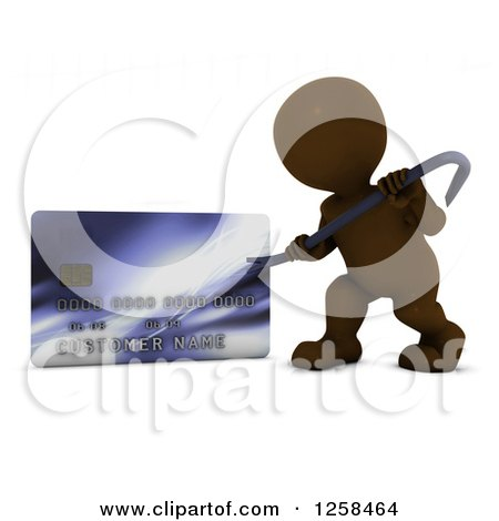 Clipart of a 3d Brown Man Using a Pry Bar to Hack into a Credit Card Account - Royalty Free Illustration by KJ Pargeter