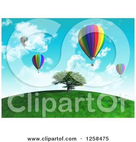 Clipart of a 3d Tree on a Hill with Hot Air Balloons - Royalty Free Illustration by KJ Pargeter